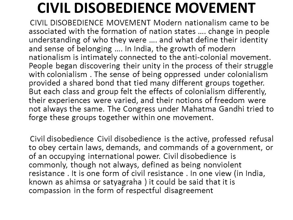 Civil Disobedience, originally titled Resistance to Civil Government , has had a wide influence on many later practitioners of civil disobedience.