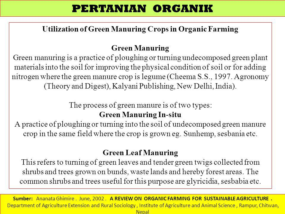 Sumber: Ananata Ghimire. June, 2002. A REVIEW ON ORGANIC FARMING FOR SUSTAINABLE AGRICULTURE. Department of Agriculture Extension and Rural Sociology,