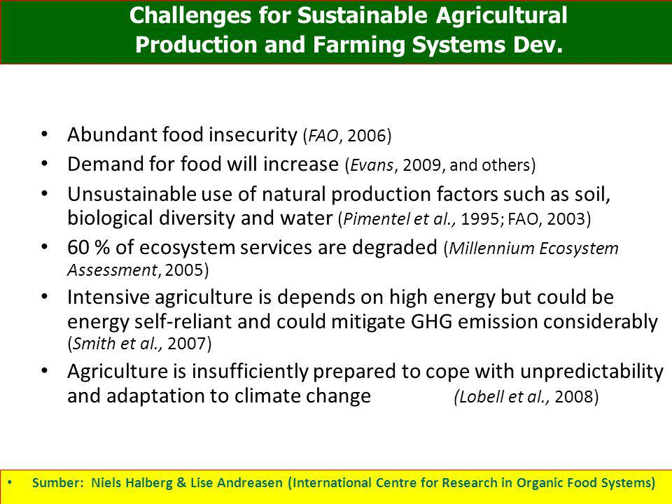 Abundant food insecurity (FAO, 2006) Demand for food will increase (Evans, 2009, and others) Unsustainable use of natural production factors such as s