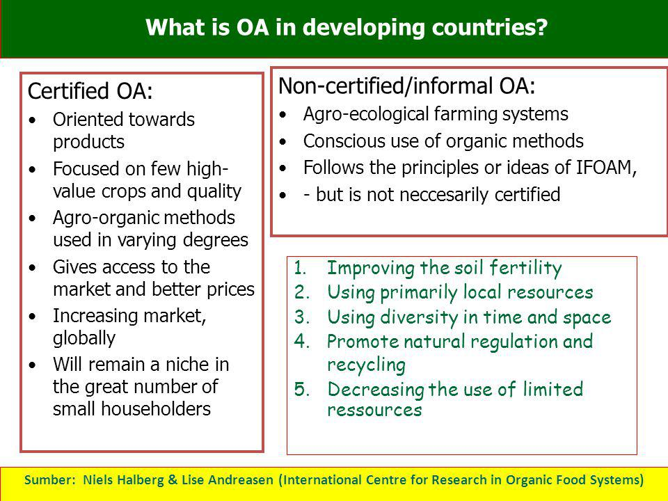 What is OA in developing countries? Certified OA: Oriented towards products Focused on few high- value crops and quality Agro-organic methods used in