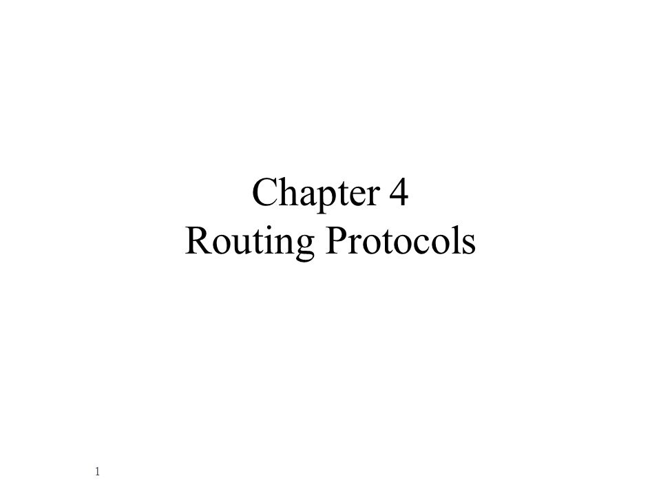 Chapter 4 Routing Protocols 1