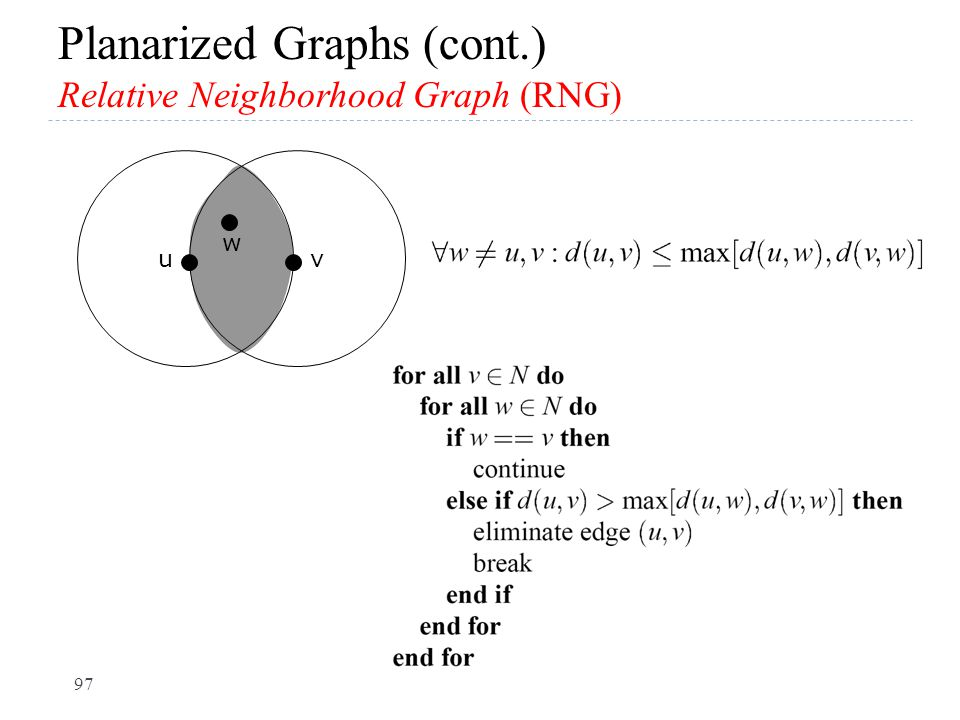 Planarized Graphs (cont.) Relative Neighborhood Graph (RNG) uv w 97