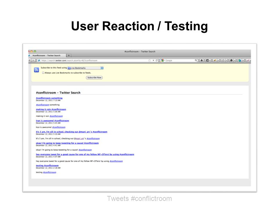 User Reaction / Testing Tweets #conflictroom