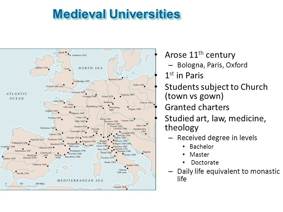 Medieval Universities Arose 11 th century – Bologna, Paris, Oxford 1 st in Paris Students subject to Church (town vs gown) Granted charters Studied ar