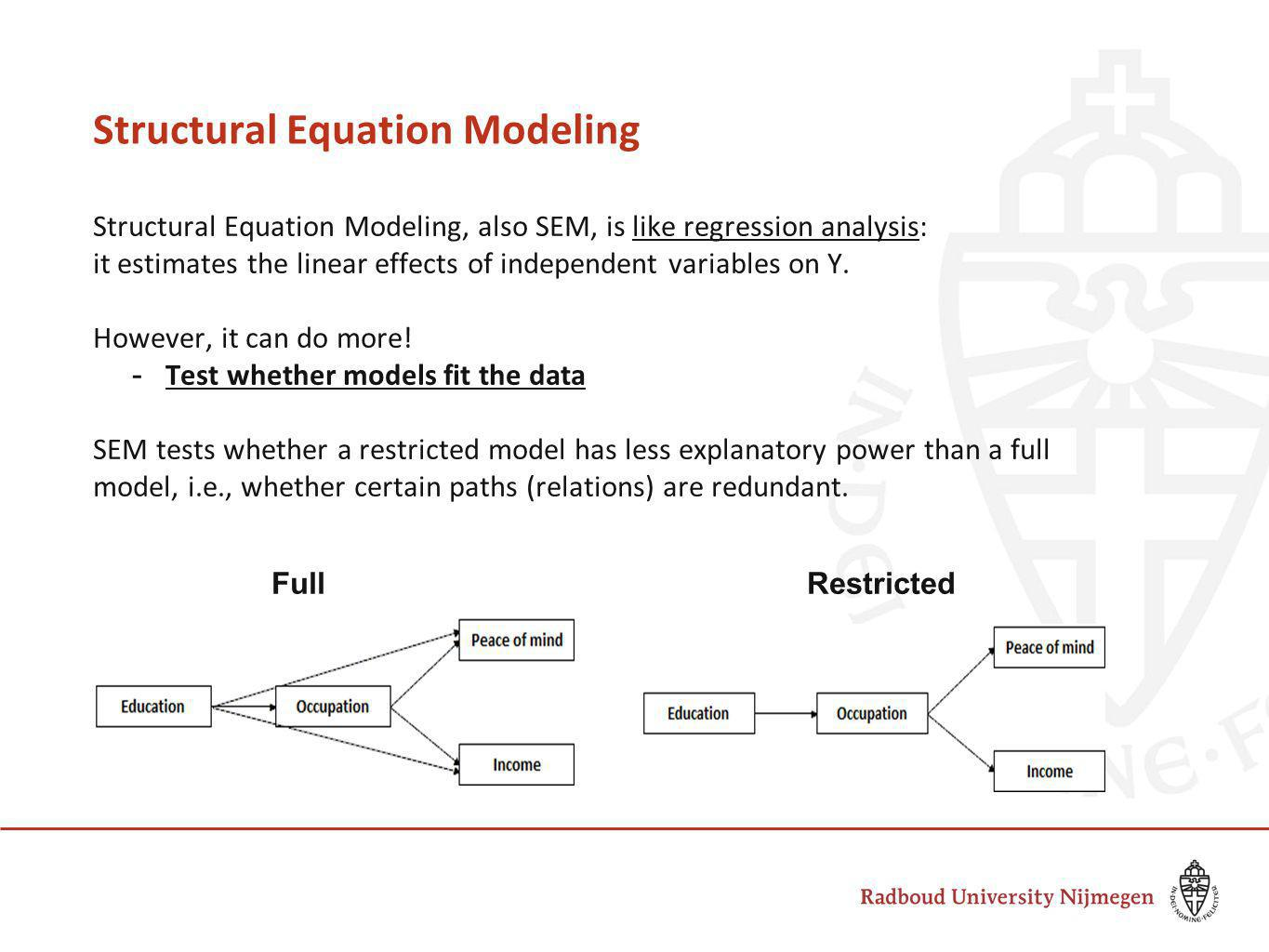 Structural Equation Modeling Structural Equation Modeling, also SEM, is like regression analysis: it estimates the linear effects of independent variables on Y.