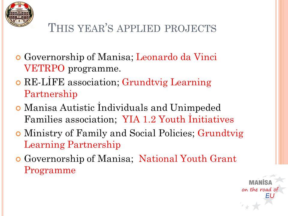 Governorship of Manisa; Leonardo da Vinci VETRPO programme. RE-LİFE association; Grundtvig Learning Partnership Manisa Autistic İndividuals and Unimpe