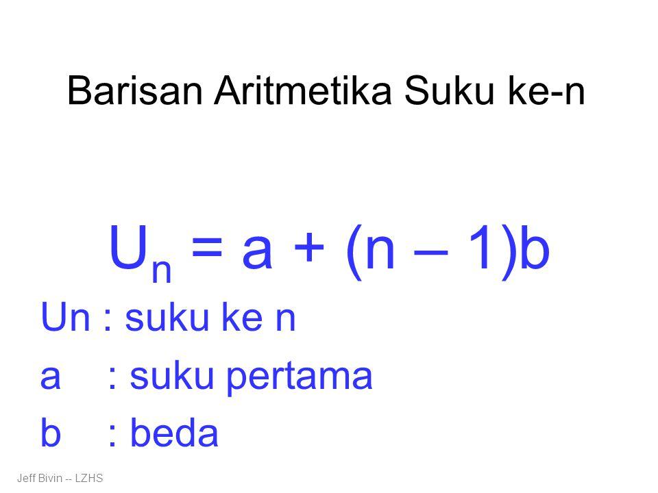 Barisan Aritmetika Suku ke-n U n = a + (n – 1)b Un : suku ke n a : suku pertama b : beda Jeff Bivin -- LZHS