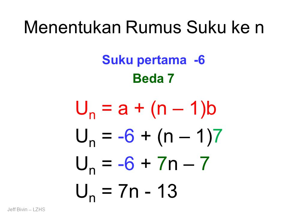Menentukan Rumus Suku ke n Suku pertama -6 Beda 7 U n = a + (n – 1)b U n = -6 + (n – 1)7 U n = -6 + 7n – 7 U n = 7n - 13 Jeff Bivin -- LZHS