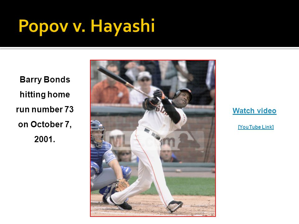 Barry Bonds hitting home run number 73 on October 7, 2001. Watch video [YouTube Link]