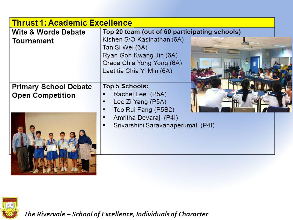 The Rivervale – School of Excellence, Individuals of Character Thrust 1: Academic Excellence Tamil Language Competition for Primary Schools 2013: Sing