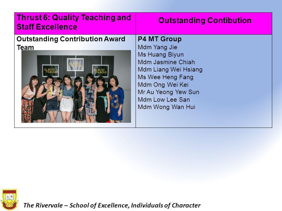 Thrust 6: Quality Teaching and Staff Excellence Outstanding Contibution Outstanding Contribution Award Team P4 MT Group Mdm Yang Jie Ms Huang Biyun Mdm Jasmine Chiah Mdm Liang Wei Hsiang Ms Wee Heng Fang Mdm Ong Wei Kei Mr Au Yeong Yew Sun Mdm Low Lee San Mdm Wong Wan Hui