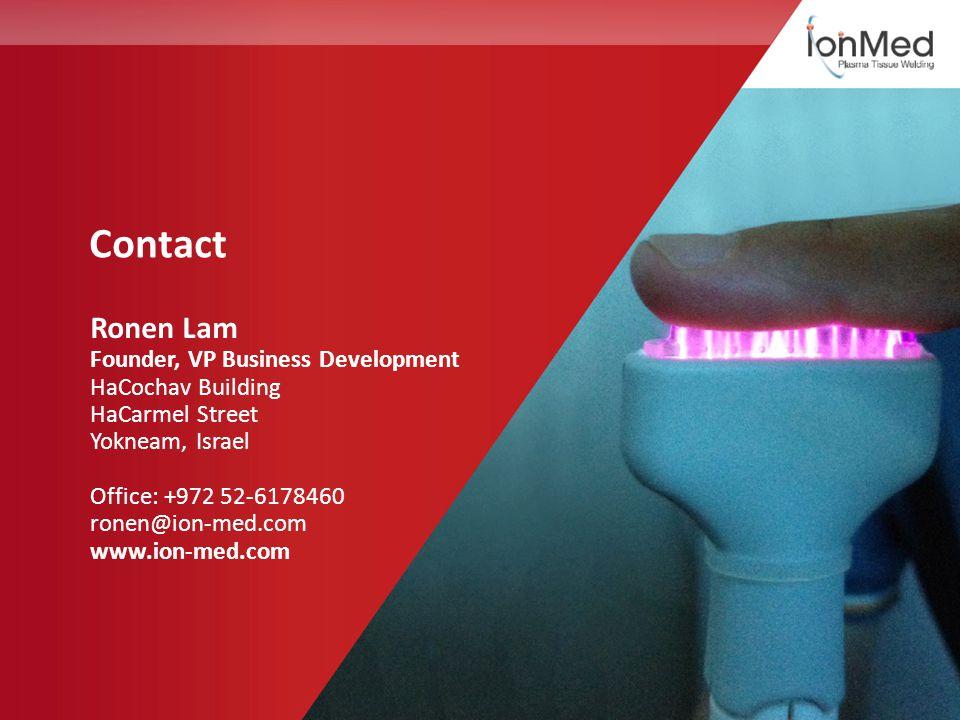 Contact Ronen Lam Founder, VP Business Development HaCochav Building HaCarmel Street Yokneam, Israel Office: +972 52-6178460 ronen@ion-med.com www.ion