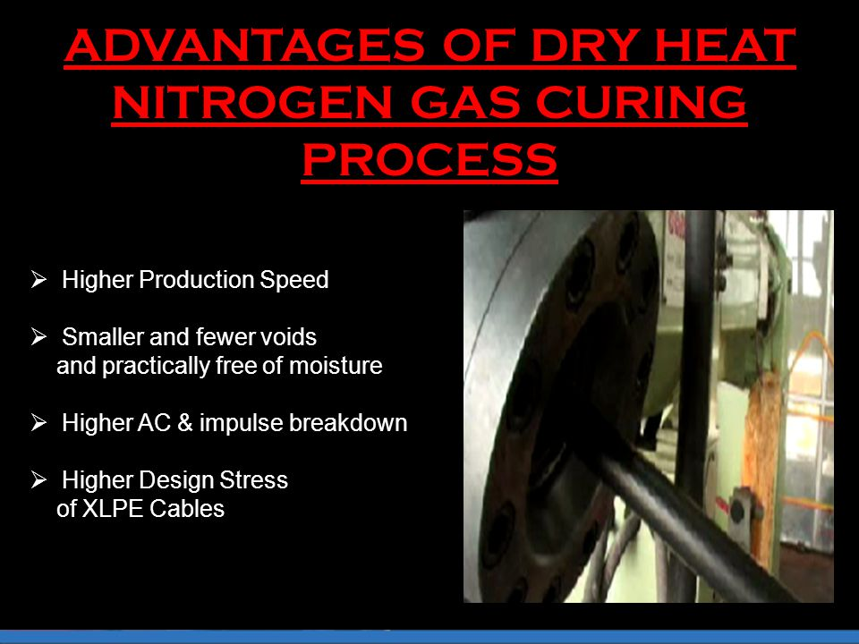 ADVANTAGES OF DRY HEAT NITROGEN GAS CURING PROCESS  Higher Production Speed  Smaller and fewer voids and practically free of moisture  Higher AC & impulse breakdown  Higher Design Stress of XLPE Cables