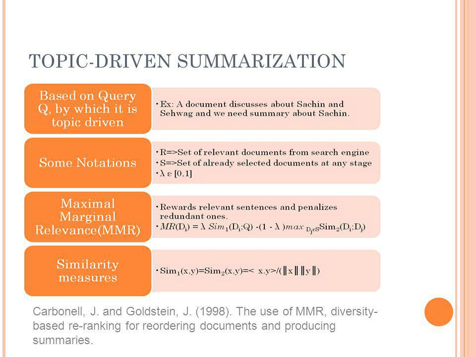 TOPIC-DRIVEN SUMMARIZATION Carbonell, J. and Goldstein, J. (1998). The use of MMR, diversity- based re-ranking for reordering documents and producing