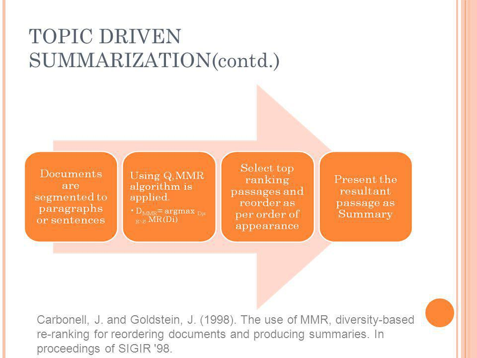 TOPIC DRIVEN SUMMARIZATION(contd.) Carbonell, J. and Goldstein, J. (1998). The use of MMR, diversity-based re-ranking for reordering documents and pro