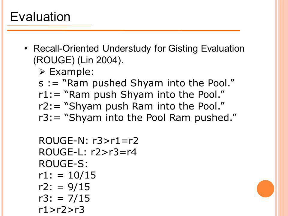 """Evaluation Recall-Oriented Understudy for Gisting Evaluation (ROUGE) (Lin 2004).  Example: s := """"Ram pushed Shyam into the Pool."""" r1:= """"Ram push Shya"""