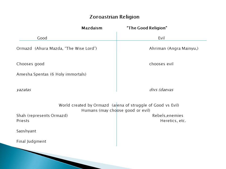 "Zoroastrian Religion Mazdaism ""The Good Religion"" Good Evil Ormazd (Ahura Mazda, ""The Wise Lord"") Ahriman (Angra Mainyu,) Chooses goodchooses evil Ame"
