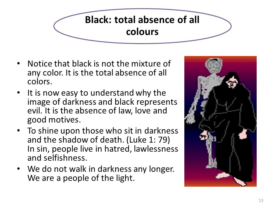 Black: total absence of all colours 13 Notice that black is not the mixture of any color.