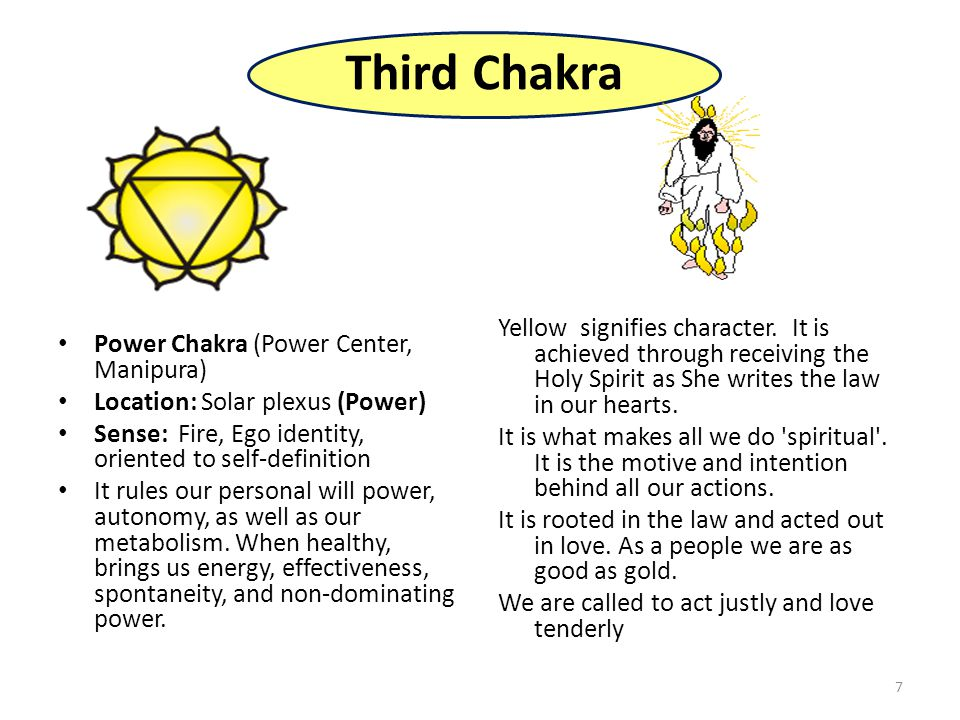 7 Third Chakra Power Chakra (Power Center, Manipura) Location: Solar plexus (Power) Sense: Fire, Ego identity, oriented to self-definition It rules our personal will power, autonomy, as well as our metabolism.