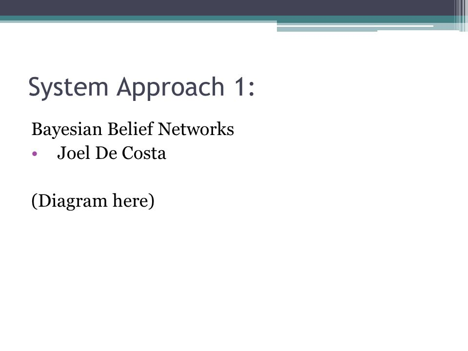 System Approach 1: Bayesian Belief Networks Joel De Costa (Diagram here)