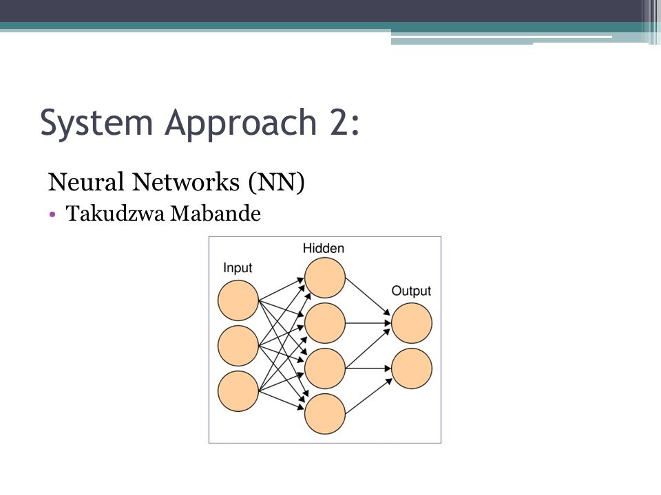 System Approach 2: Neural Networks (NN) Takudzwa Mabande