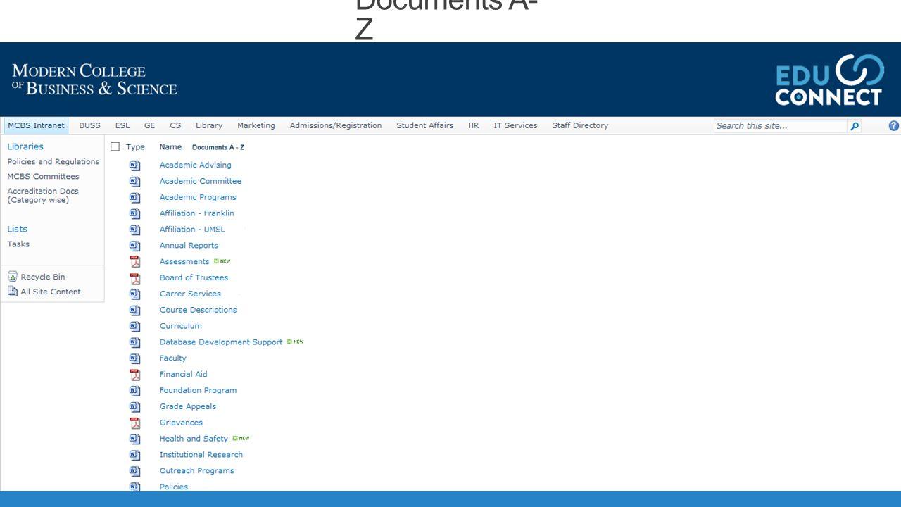 Documents A- Z