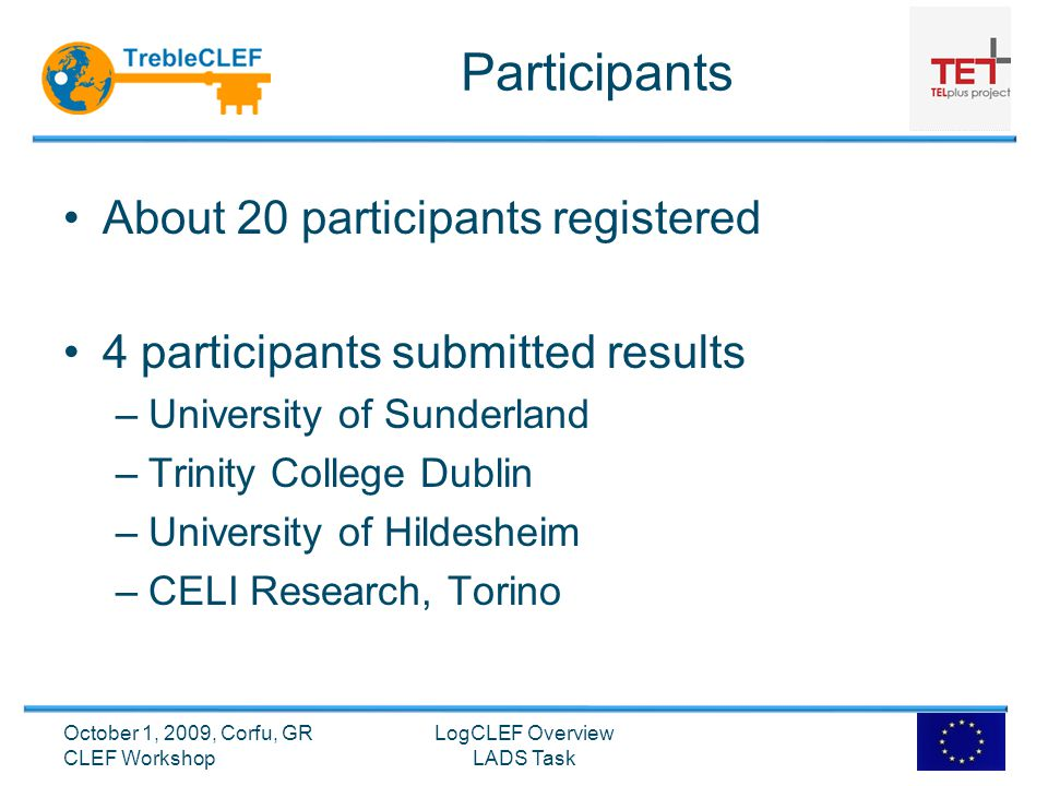 Participants About 20 participants registered 4 participants submitted results –University of Sunderland –Trinity College Dublin –University of Hildesheim –CELI Research, Torino LogCLEF Overview LADS Task October 1, 2009, Corfu, GR CLEF Workshop