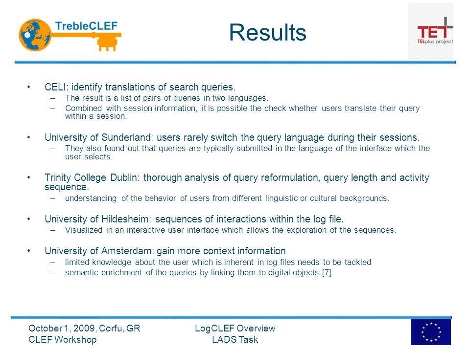 Results CELI: identify translations of search queries.