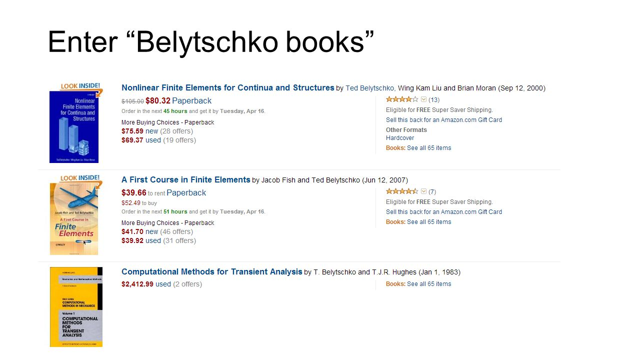 Enter Belytschko books
