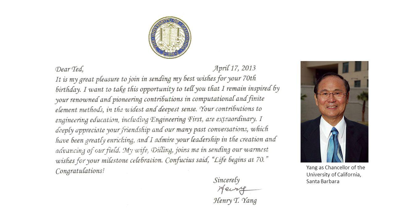 Yang as Chancellor of the University of California, Santa Barbara