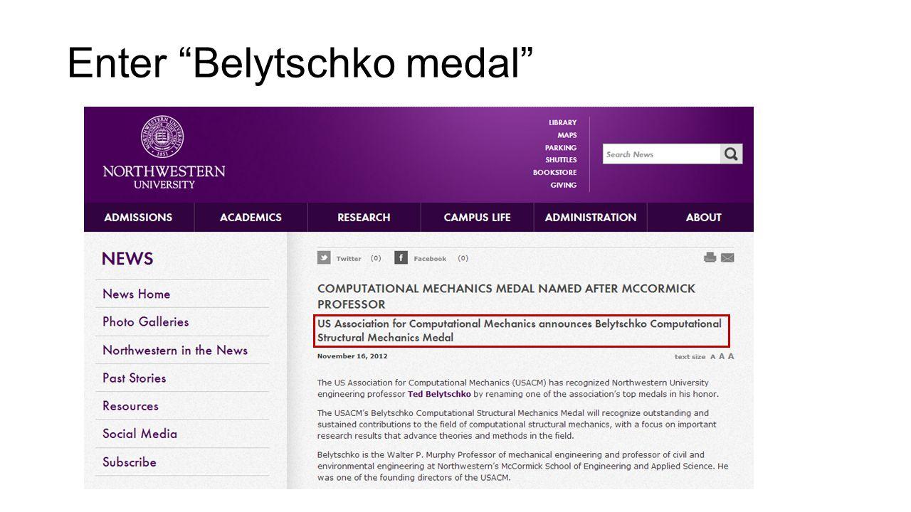 Enter Belytschko medal