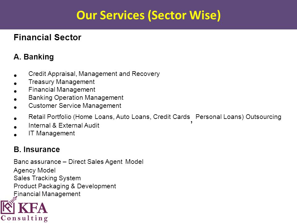 Our Services (Sector Wise) Financial Sector A.