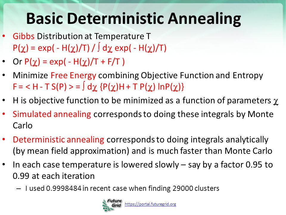 https://portal.futuregrid.org Basic Deterministic Annealing Gibbs Distribution at Temperature T P(  ) = exp( - H(  )/T) /  d  exp( - H(  )/T) Or