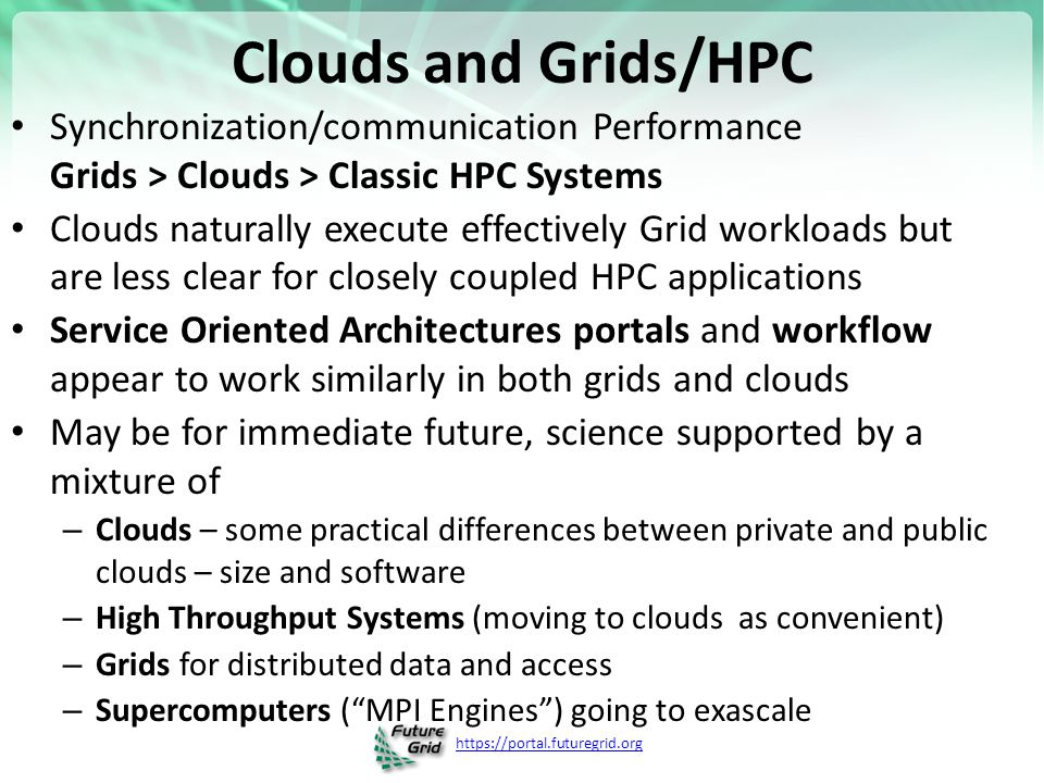 https://portal.futuregrid.org Clouds and Grids/HPC Synchronization/communication Performance Grids > Clouds > Classic HPC Systems Clouds naturally exe