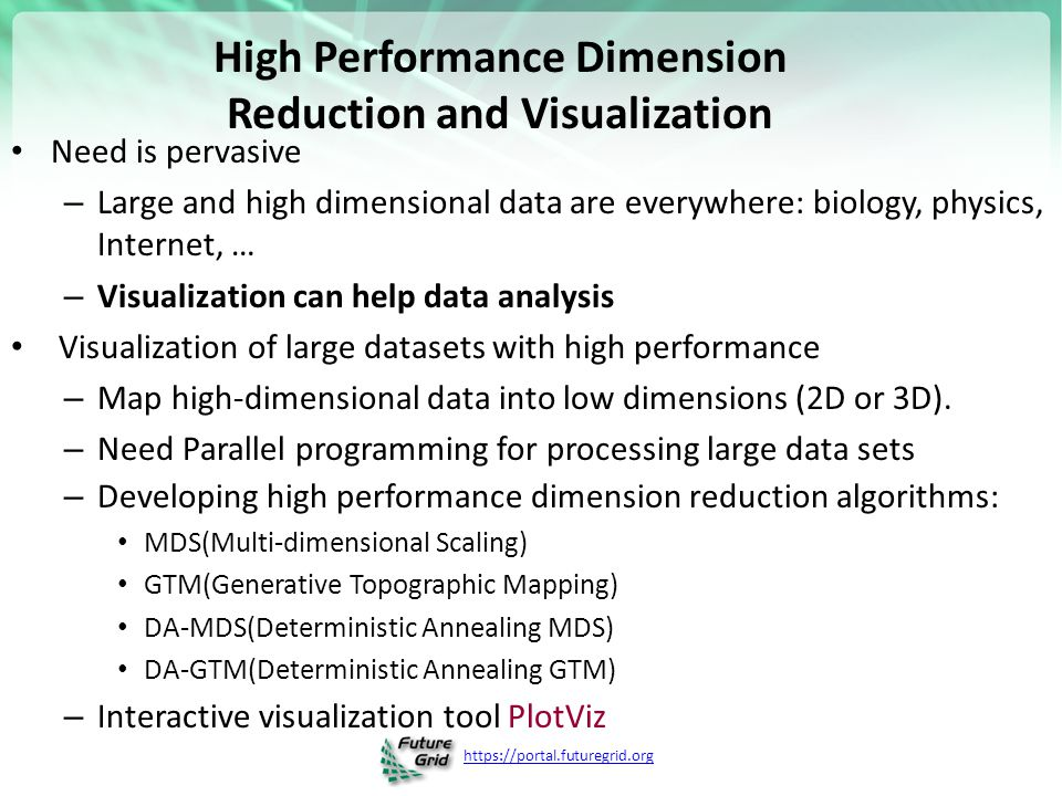 https://portal.futuregrid.org High Performance Dimension Reduction and Visualization Need is pervasive – Large and high dimensional data are everywher