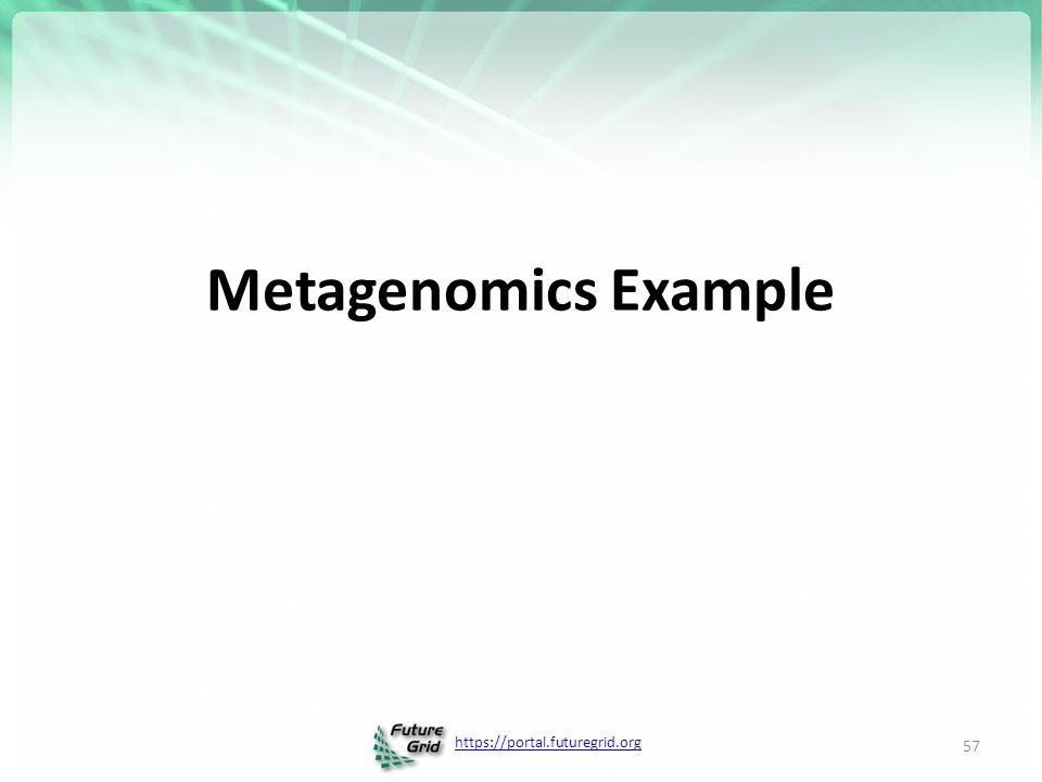https://portal.futuregrid.org Metagenomics Example 57
