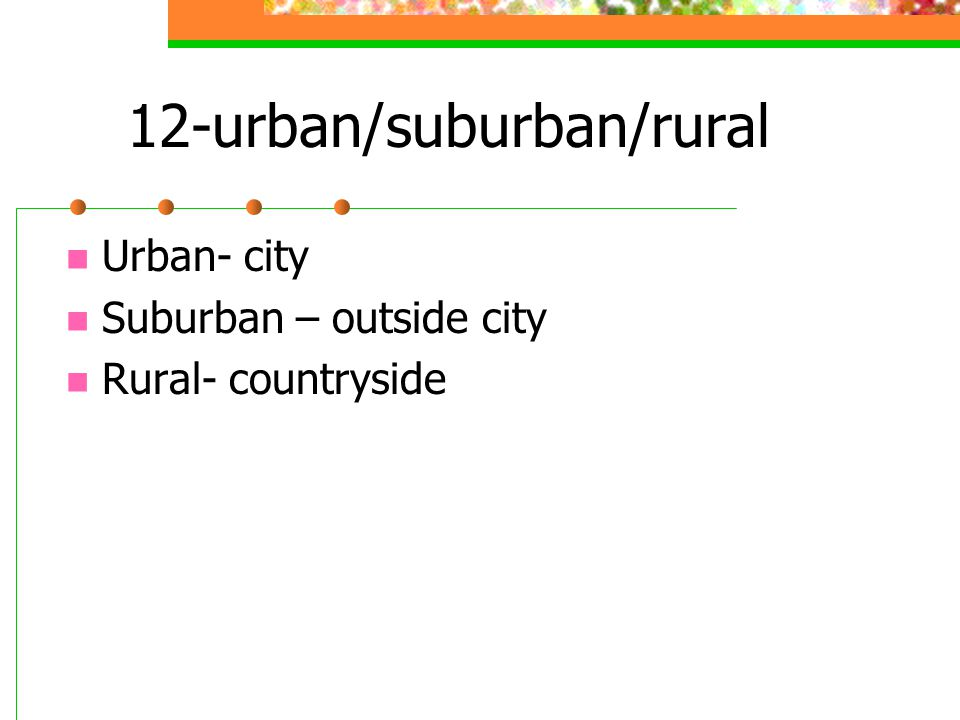 12-urban/suburban/rural Urban- city Suburban – outside city Rural- countryside