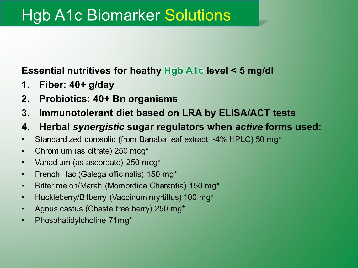 Hgb A1c Biomarker Solutions