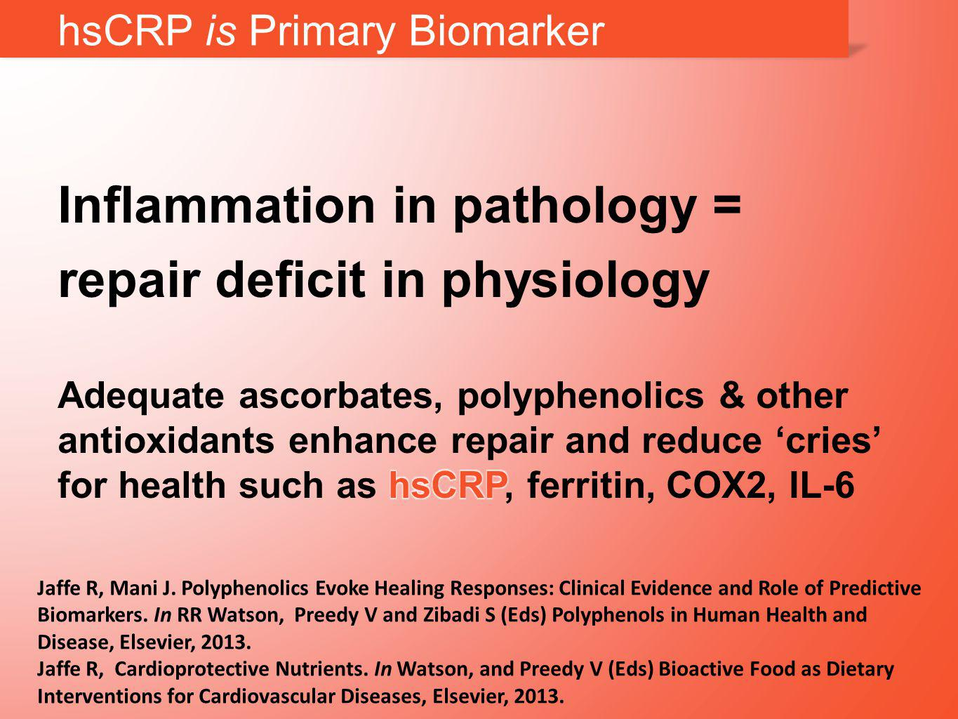 hsCRP is Primary Biomarker Jaffe R, Mani J.