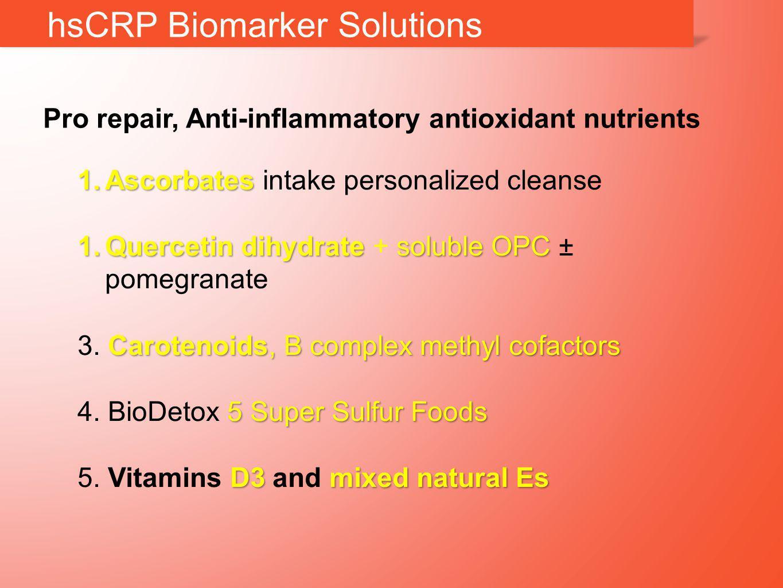 hsCRP Biomarker Solutions 1.Ascorbates 1.Ascorbates intake personalized cleanse 1.Quercetin dihydrate soluble OPC 1.Quercetin dihydrate + soluble OPC ± pomegranate Carotenoids, B complex methyl cofactors 3.