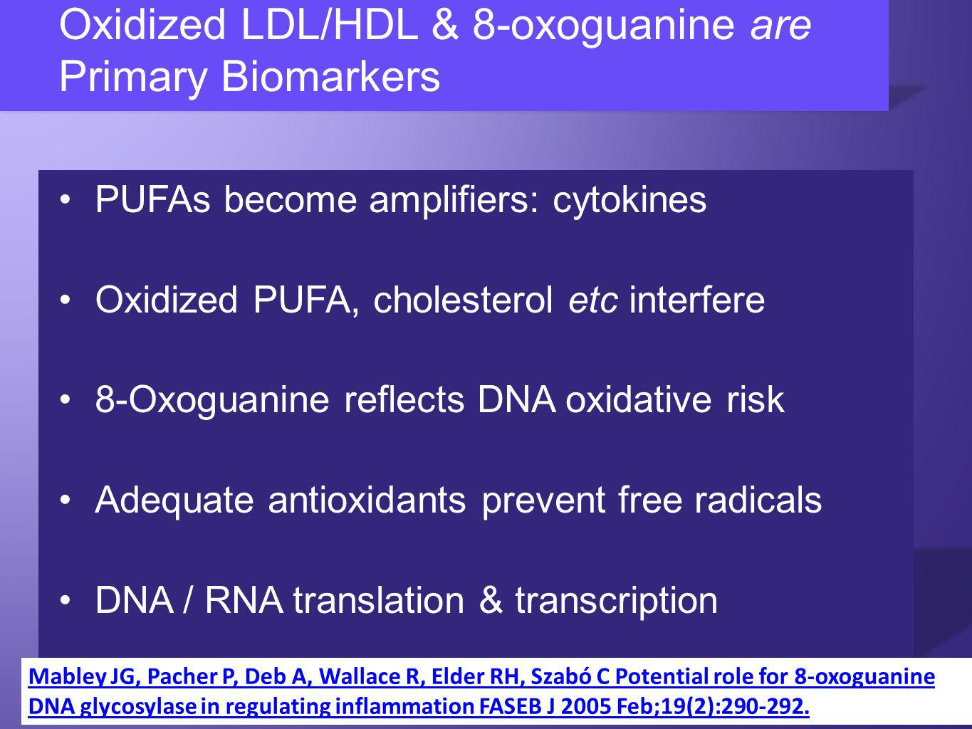Oxidized LDL/HDL & 8-oxoguanine are Primary Biomarkers PUFAs become amplifiers: cytokines Oxidized PUFA, cholesterol etc interfere 8-Oxoguanine reflects DNA oxidative risk Adequate antioxidants prevent free radicals DNA / RNA translation & transcription Mabley JG, Pacher P, Deb A, Wallace R, Elder RH, Szabó C Potential role for 8-oxoguanine DNA glycosylase in regulating inflammation FASEB J 2005 Feb;19(2):290-292.