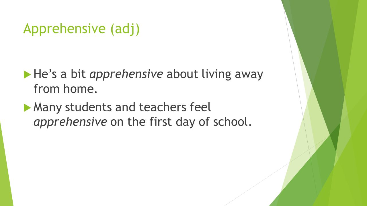 Apprehensive (adj)  He's a bit apprehensive about living away from home.
