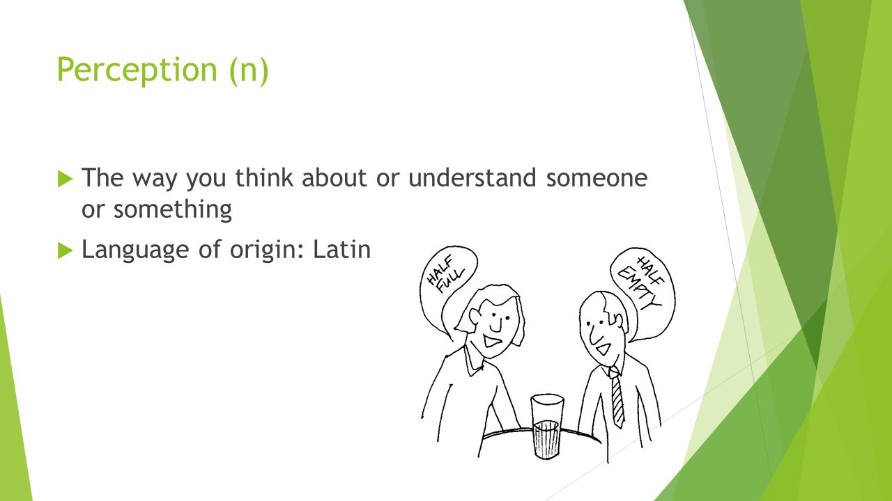 Perception (n)  The way you think about or understand someone or something  Language of origin: Latin