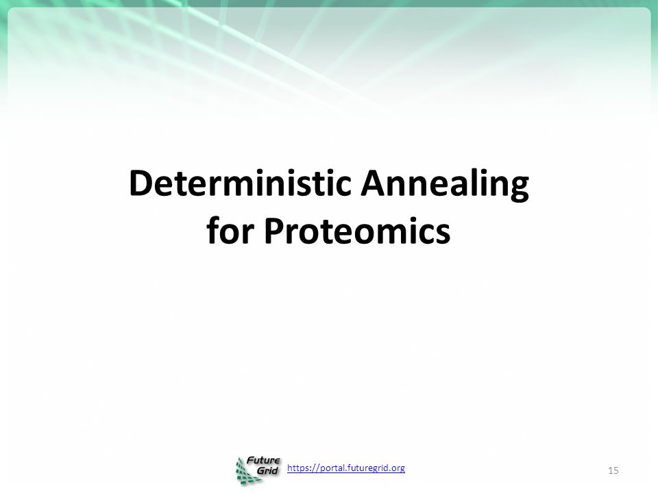https://portal.futuregrid.org Deterministic Annealing for Proteomics 15