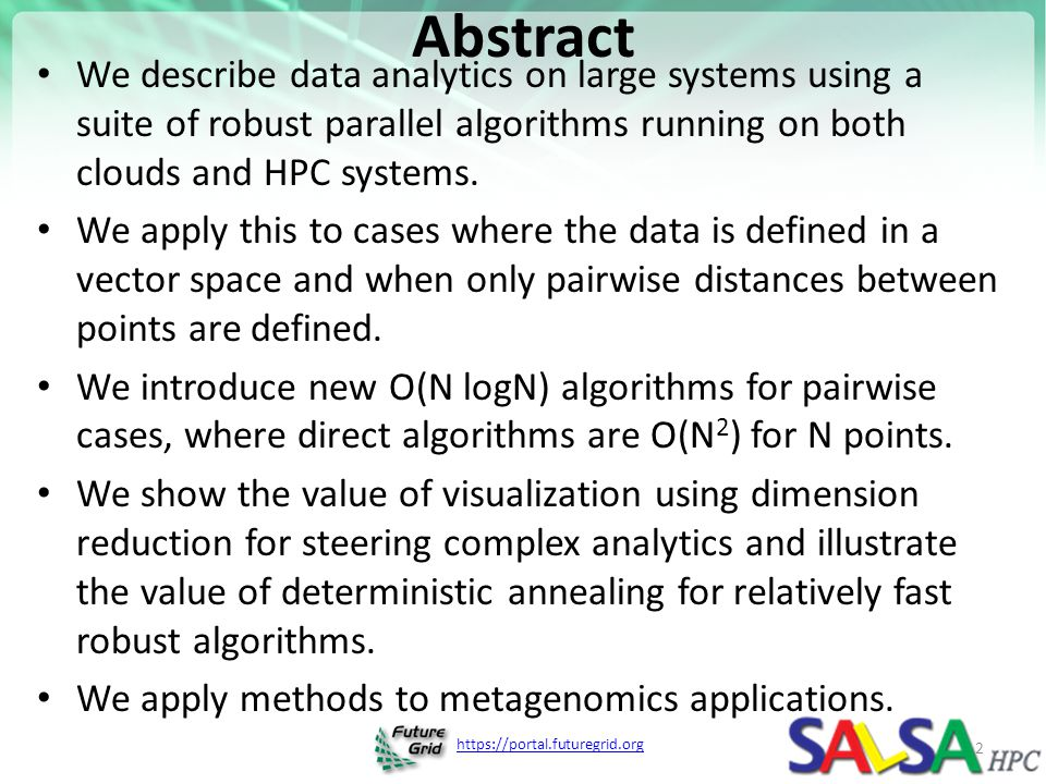 https://portal.futuregrid.org References Ken Rose, Deterministic Annealing for Clustering, Compression, Classification, Regression, and Related Optimization Problems.