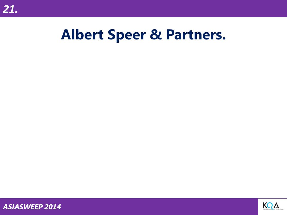 ASIASWEEP 2014 Albert Speer & Partners. 21.