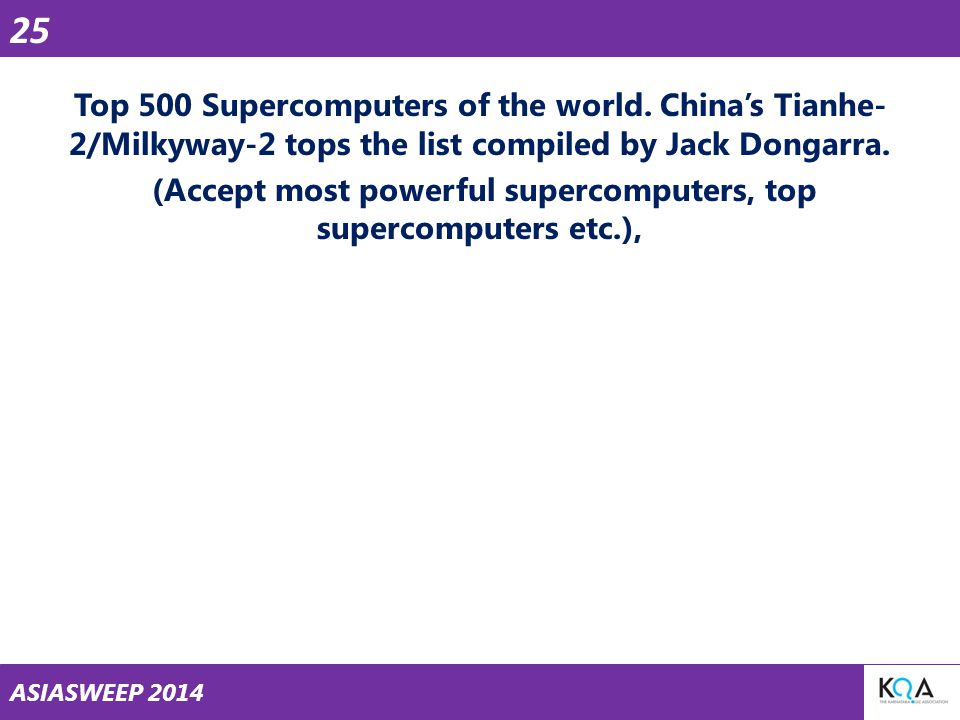 ASIASWEEP 2014 Top 500 Supercomputers of the world.