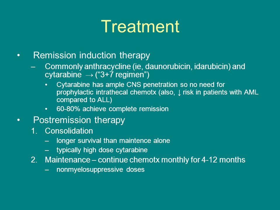 "Treatment Remission induction therapy –Commonly anthracycline (ie, daunorubicin, idarubicin) and cytarabine → (""3+7 regimen"") Cytarabine has ample CNS"