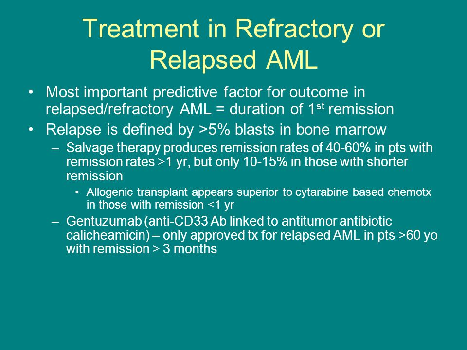 Treatment in Refractory or Relapsed AML Most important predictive factor for outcome in relapsed/refractory AML = duration of 1 st remission Relapse i