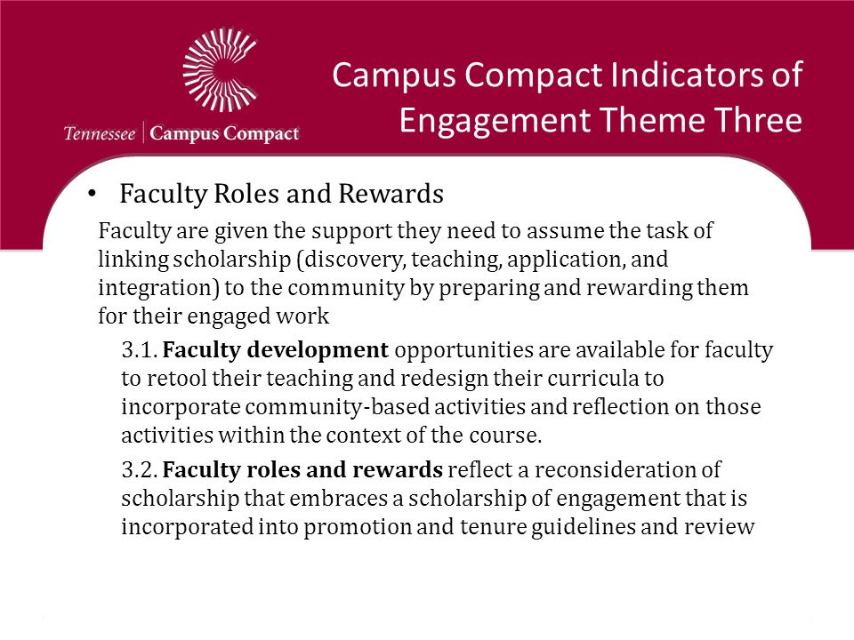 Campus Compact Indicators of Engagement Theme Three Faculty Roles and Rewards Faculty are given the support they need to assume the task of linking sc
